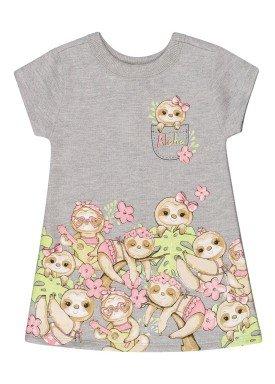 vestido cotton bebe feminino preguicinhas mescla beeloop 13845