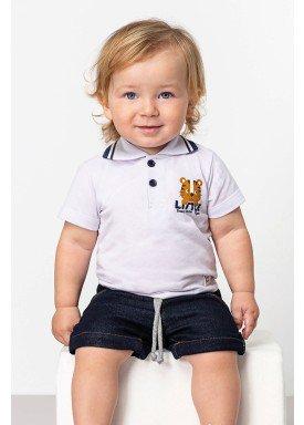 camisa polo piquet bebe masculino little branco dingdang 851101 1