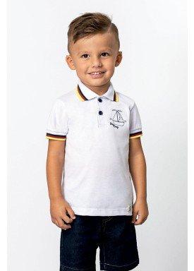 camisa polo piquet infantil masculina barco branco dingdang 851301 1