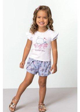 conjunto blusa e short infantil feminino ocean branco dingdang 851209 1