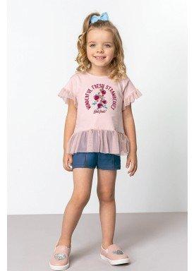 conjunto blusa e short infantil feminino strawberries rosa dingdang 851212 1
