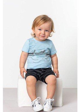 conjunto camiseta e bermuda bebe masculino shark azul dingdang 851108 1