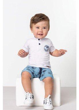 conjunto camiseta e bermuda bebe masculino summer branco dingdang 851109 1