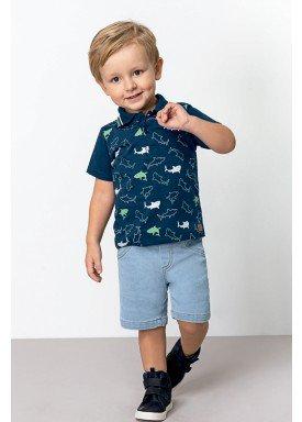 conjunto polo e bermuda jeans infantil masculino sharks marinho dingdang 851306 1