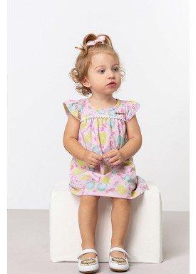 vestido cotton bebe feminino estampado rosa dingdang 851001 1