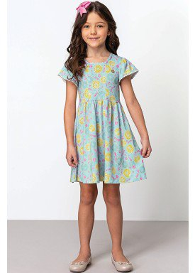 vestido cotton infantil feminino estampado verde dingdang 851401 1