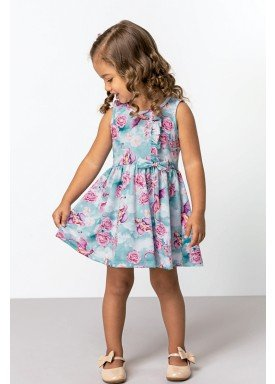 vestido cotton infantil feminino fantasy azul dingdang 851204 1