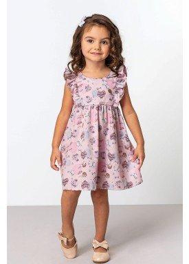 vestido crepe infantil feminino balloons rosa dingdang 851201 1
