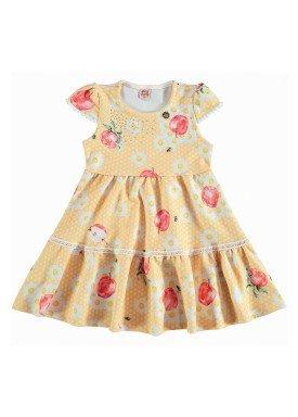 vestido jacquard infantil feminino apples amarelo dingdang 853204