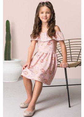 vestido neoprene infantil feminino fundo mar rosa dingdang 853402 2