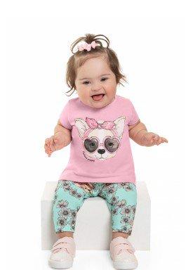 conjunto blusa e capri bebe feminino fashion rosa beeloop 13841 1