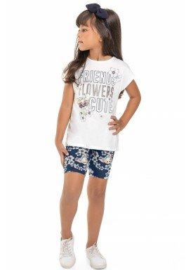 conjunto blusa e ciclista infantil juvenil feminino friends branco beeloop 13848 1