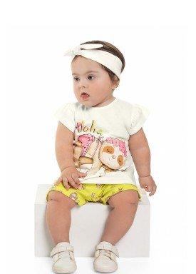 conjunto blusa e short bebe feminino aloha natural beeloop 13844 1