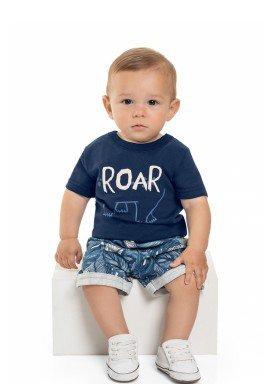 conjunto camiseta e bermuda bebe masculino roar marinho beeloop 13863 1