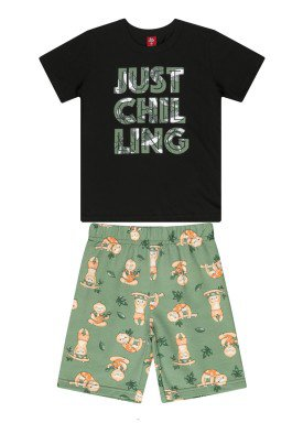 conjunto camiseta e bermuda infantil masculino chilling preto beeloop 13867