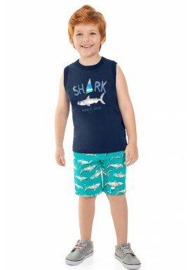 conjunto regata e bermuda infantil masculino shark marinho beeloop 13866 1