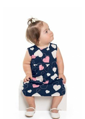 vestido meia malha bebe feminino coracoes marinho beeloop 13840 1