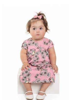 vestido meia malha bebe feminino flores rosa beeloop 13842 1