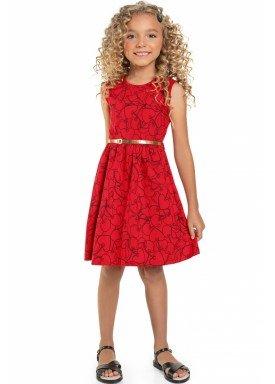 vestido meia malha infantil feminino hearts vermelho beeloop 13858 1