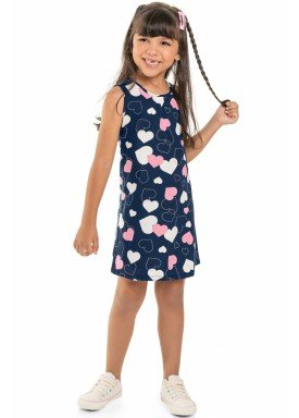 vestido meia malha infantil juvenil feminino coracoes marinho beeloop 13878 1