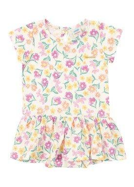 body vestido meia malha bebe feminino floral marfim marlan 40483