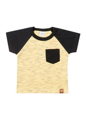 camiseta meia malha com bolso bebe masculina amarelo marlan 40481