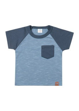 camiseta meia malha com bolso bebe masculina azul marlan 40481