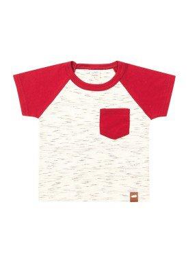 camiseta meia malha com bolso bebe masculina marfim marlan 40481