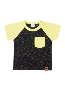 camiseta meia malha com bolso bebe masculina preto marlan 40481