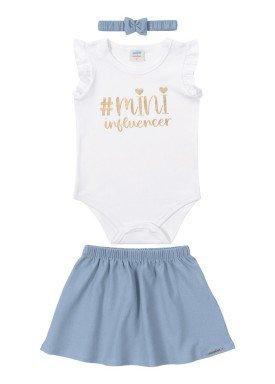 conjunto body e saia bebe feminino mini influencer branco marlan 40433
