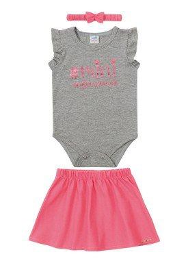 conjunto body e saia bebe feminino mini influencer mescla marlan 40433