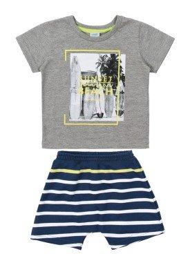 conjunto camiseta e bermuda bebe masculino beach mescla marlan 40460