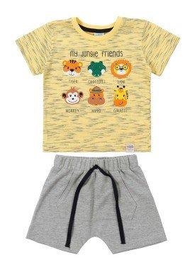conjunto camiseta e bermuda bebe masculino jungle friends amarelo marlan 40455