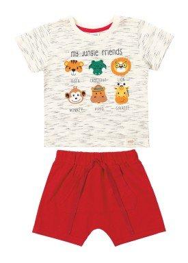 conjunto camiseta e bermuda bebe masculino jungle friends marfim marlan 40455