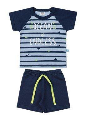 conjunto camiseta e bermuda bebe masculino ocean azul marlan 40469