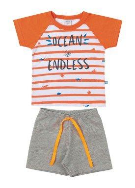conjunto camiseta e bermuda bebe masculino ocean branco marlan 40469