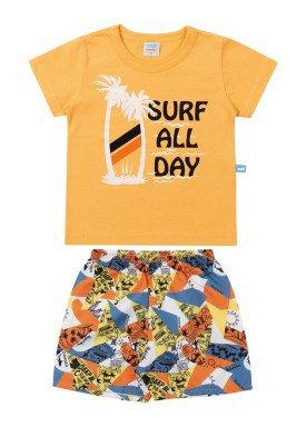 conjunto camiseta e bermuda bebe masculino surf amarelo marlan 40468