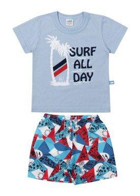conjunto camiseta e bermuda bebe masculino surf azul marlan 40468