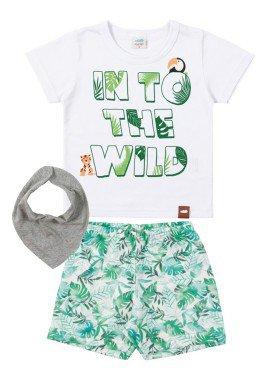 conjunto camiseta e bermuda bebe masculino wild branco marlan 40452