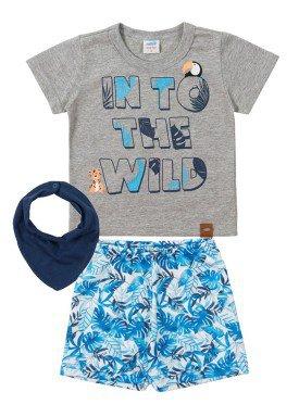 conjunto camiseta e bermuda bebe masculino wild mescla marlan 40452