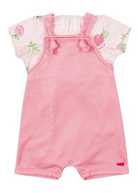 conjunto jardineira e body bebe feminino sweet rosa marlan 40486 1