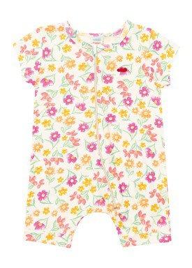macacao curto meia malha bebe feminino floral marfim marlan 40480