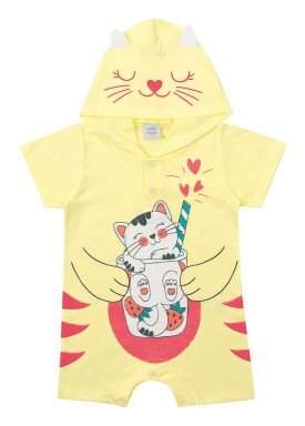 macacao curto meia malha bebe feminino gatinha amarelo marlan 40443