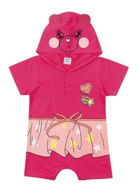 macacao curto meia malha bebe feminino ursinho rosa marlan 40443