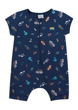macacao curto meia malha bebe masculino aloha marinho marlan 40480