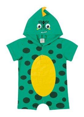macacao curto meia malha bebe masculino dino verde marlan 40477
