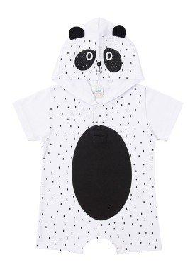 macacao curto meia malha bebe masculino panda branco marlan 40477