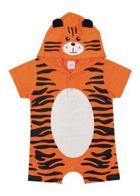macacao curto meia malha bebe masculino tigre laranja marlan 40477