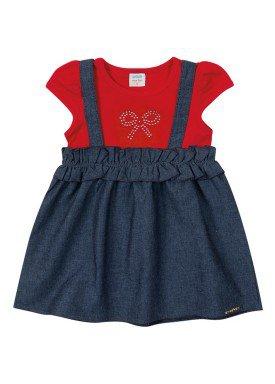 vestido chambray bebe feminino marinho marlan 40429