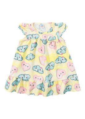 vestido versalhes bebe feminino nuvens amarelo marlan 40421